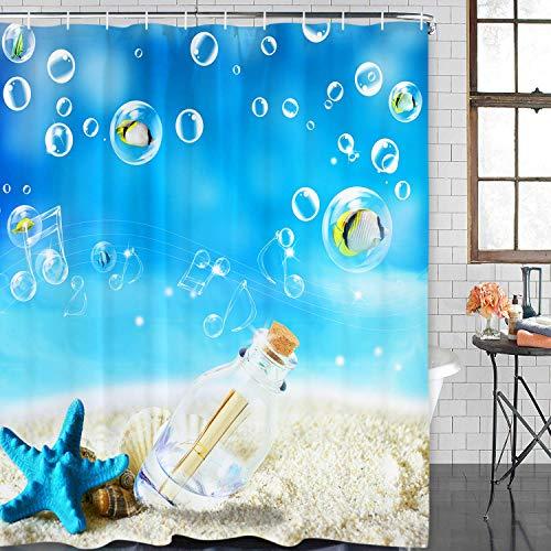 Blanco playa azul estrellas de mar blanco botella de deseos burbuja lindo pequeño pescado nota concha concha cortina ducha cortina baño decorativo tela impermeable