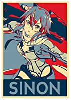 Wall Art Poster Print Sword Art Online Propaganda Sinon Gun Gale - Formato A3 (42x30 cm)