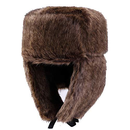 SON-bag Hut Herren Winter Winddicht Kalt Reiten Hut Jugend Lei Feng Hut Plus Samt Damen Gehörschutz Warme Mütze (Farbe : Braun, Größe : One Size)