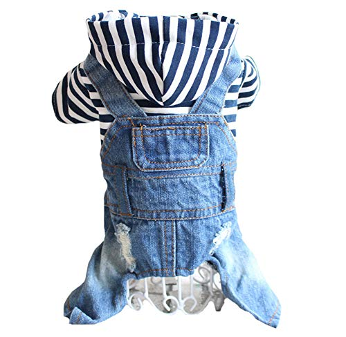 Tengzhi Denim Striped or Grid Pet Dog Jumpsuits Puppy Cat Hoodie Jean Coat Four Feet Clothes for Small Dogs Teddy Yorkies Sweatshirt Jeans Overalls (XS, Blue Striped)
