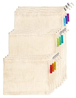 Colony Co. Reusable Produce Bags, Certified Organic Cotton Mesh Material, Machine Washable, Tare Weight on Label, Set of 9 - Variety of Sizes (3 Large, 3 Medium, 3 Small), Plastic-Free Packaging