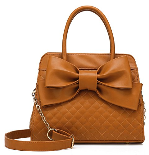 Scarleton Quilted Bow Satchel Handbag for Women, Vegan Leather Crossbody Bag, Shoulder Bag with Removable Adjustable Strap, Tote Purse, Brown, H104804
