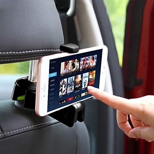 Qiman Auto Kopfstütze Haken Mit Handyhalter Sitz Zurück Kleiderbügel Für Tasche Multifunktions Clips