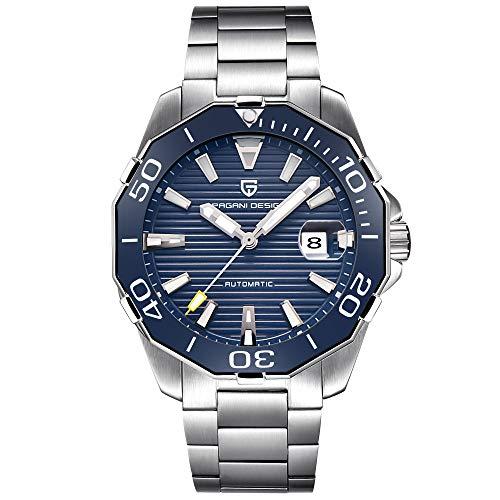 PAGANI DESIGN Reloj Automático para Hombre Reloj Mecánico De Primeras Marcas Reloj Deportivo De Acero Inoxidable Resistente Al Agua para Hombre (Blue)