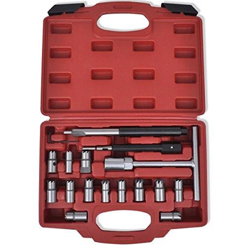 LARS360 17 TLG Injektor Fräser Diesel Dichtsitz Fräser Satz Werkzeug Set Einspritzdüsen Dichtflächen Fräser inklusive Aufbewahrungskoffer