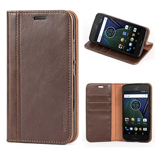 Mulbess Handyhülle für Motorola Moto G5 Hülle Leder, Motorola Moto G5 Handy Hüllen, mit BookStyle Flip Handytasche Schutzhülle für Motorola Moto G5 Hülle, Kaffee Braun