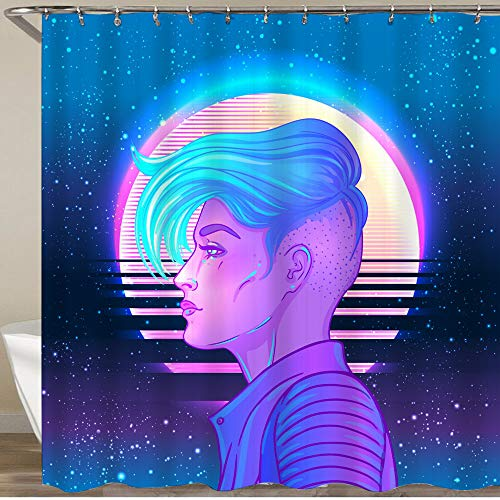 VAMIX Shower Curtain,Pretty androgynous Woman Short Shaved Pixie Undercut Retro Futurism,Polyester Fabric Waterproof Bath Curtains Hooks Included - 72 x 72 inches