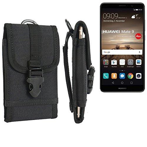 K-S-Trade Handyhülle Für Huawei Mate 9 (Dual-SIM) Gürteltasche Holster Handytasche Gürtel Tasche Schutzhülle Robuste Handy Schutz Hülle Tasche Outdoor Schwarz
