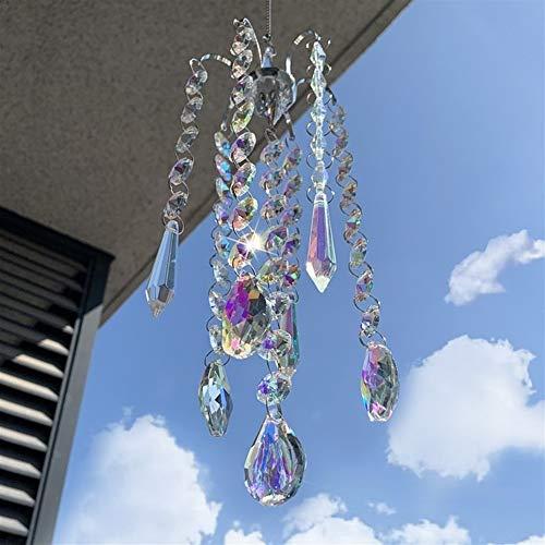 NLJYSH 1 Stück Chandelier Wind Chimes AB Schichtskristallprismen Hängen Suncatcher Regenbogen-Hersteller Fenster Gardinen Anhänger Home Decor Geschenke