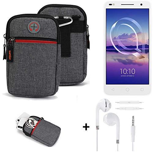 K-S-Trade® Gürtel-Tasche + Kopfhörer Für -Alcatel U5 HD Dual SIM- Handy-Tasche Schutz-hülle Grau Zusatzfächer 1x