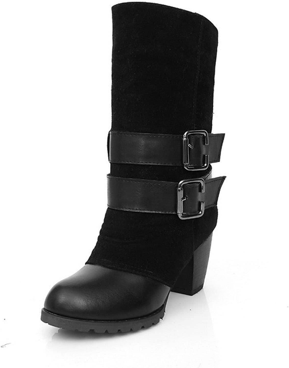 WeiPoot Womens Round Closed Toe High Heels PU Frosted Assorted colors Boots with Chunky Heels, Black, 7.5 B(M) US