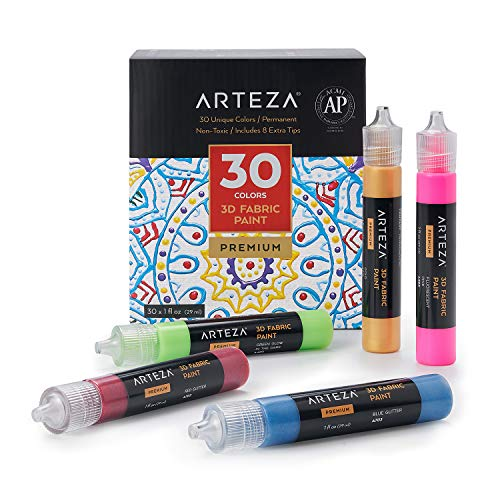 ARTEZA Pintura textil 3D | Juego de 30 tubos de 29 ml | Pinturas para tela | Colores fosforescentes, metálicos y brillantes | Ideales para pintar ropa, accesorios, cerámicas y vidrio