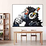 Headphone Music Monkey Prints Wall Animal Picture Abstract Posters Canvas Art Painting For