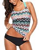 SEBOWEL Women Y Back Swim Top Halter Bathing Suit Tankini Swimwear Tops Coral XXL