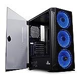 YEYIAN Caja para PC Gaming Hollow 2500 (ITX, Micro ATX, ATX,EATX, Cristal Templado, Malla, Incluye 3 Ventiladores ARGB, 3 Puertos USB 3.0) YGH-49703 (Negro)