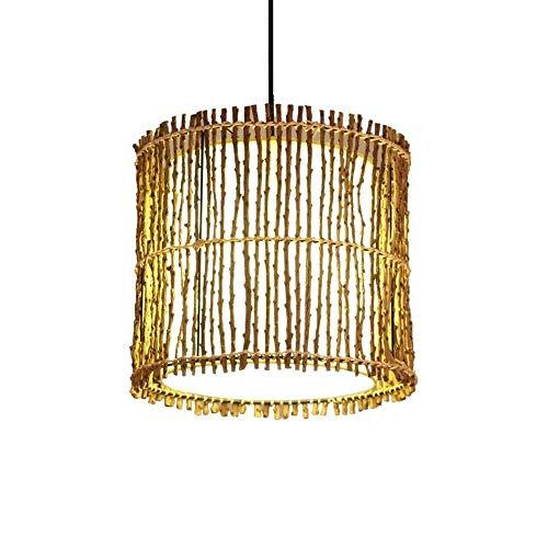 Lámparas colgantes madera Bambú lámpara colgante arte simple lámpara de techo lámpara de mimbre artesanal de joyas de colgante E27 bar restaurante casa de té bar del hotel la decoración lámpara casera