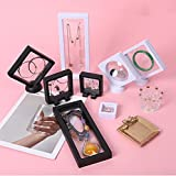 10PCS Pe Film Jewelry Storage Box,3D Floating Frames,Thin Film Suspension Jewelry Display Box for Ring Necklace Bracelet Earring (6pcs Black+White)