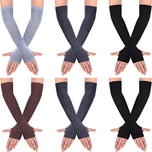 SATINIOR 6 Paare Frauen Lange Fingerlose Handschuhe Stricken Armwärmer Daumenloch Dehnbare Handschuhe (Einfarbige Serie)