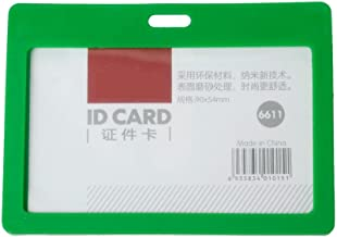 CKB Ltd 100X Green Enclosed Plastic Pass Rigid Holder Colour Frame Deluxe - Horizontal/Landscape Identity Id Card Pass Badge Holder Pocket Holder Pouches 102Mm X 78Mm/A Card Up to 90Mm X 54Mm