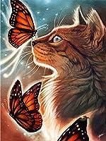 ダイヤモンド絵画クロスステッチ動物猫蝶フルラウンドDIY5dダイヤモンド刺繡画像ラインストーンアート家の装飾 50X60cm