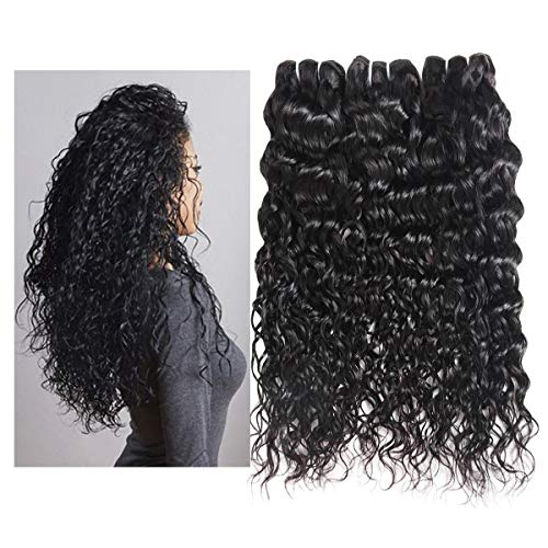Water Wave Curl 9A 3 Bundles Deal Real Virgin Raw Human Hair Unprocessed Double Weft Weave Natural Color (18 20 22 Inch)