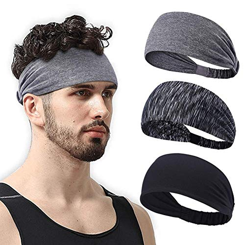 JHCome 3 Pack Women & Men Yoga Sport Athletic Headband for Running Sports Travel Fitness Elastic Wicking Workout Non Slip Lightweight Multi Headbands Headscarf fits All Exercise