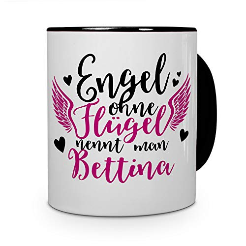 printplanet Tasse mit Namen Bettina - Motiv Engel - Namenstasse, Kaffeebecher, Mug, Becher, Kaffeetasse - Farbe Schwarz