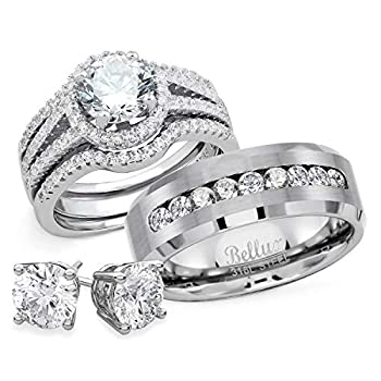 Bellux Style His and Hers Wedding Ring Set Womens Sterling Silver Mens Stainless Steel Rings + Free Stud Earrings  Women s Size 09 Men s Size 10