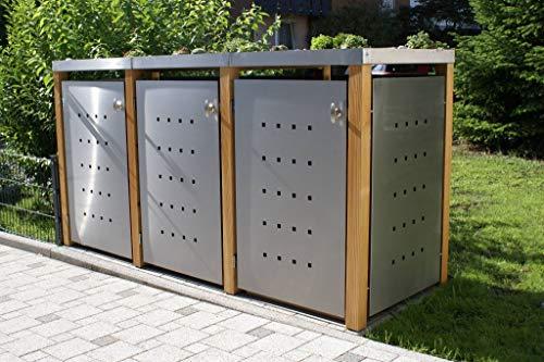 KIRCHBERGER METALL Mülltonnenbox bis 120 Liter Edelstahl Holzpfosten 3er Box mit Befestigungsset abschließbarer Griff Bangkirai (Klappdach)