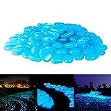 PAMIYO Pierre Lumineuse Exterieur, 120 pcs Artificiels Galets Fluorescent Décoration pour Jardin Chemin Piscine Aquarium Éclairage de Nuit Bleu