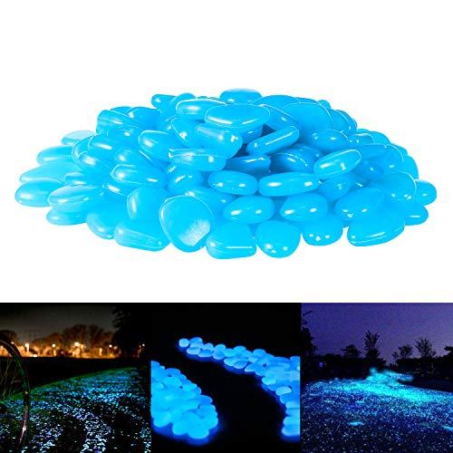 PAMIYO 120 pcs Piedras Luminosas Artificiales Piedras Fluorescentes Decorativas Exteriores Brilla en Oscuridad para Jardín Pecera y Acuario
