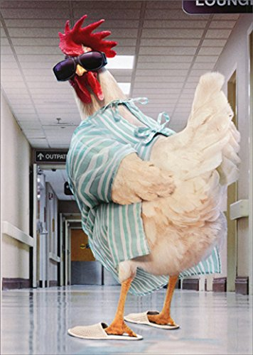 Rooster Hospital Gown Avanti Funny/Humorous Get Well Card