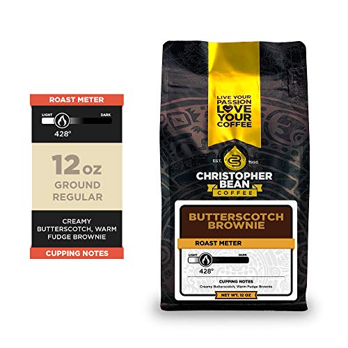 Christopher Bean Coffee - Butterscotch Brownie Flavored Coffee, (Regular Ground) 100% Arabica, No Sugar, No Fats, Made with Non-GMO Flavorings, 12-Ounce Bag of Regular Ground coffee