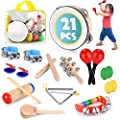 Toddler Educational & Musical Percussion for Kids & Children Instruments Set 21 Pcs – With Tambourine, Maracas, Castanets & More – Promote Fine Motor Skills, Enhance Hand To Eye Coordination,
