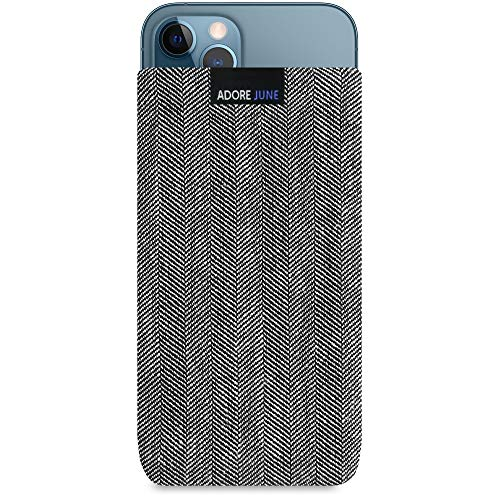 Adore June Business Tasche kompatibel mit iPhone 13 Pro Max/iPhone 12 Pro Max Handytasche aus charakteristischem Fischgrat Stoff - Grau/Schwarz, Bildschirm Reinigungs-Effekt