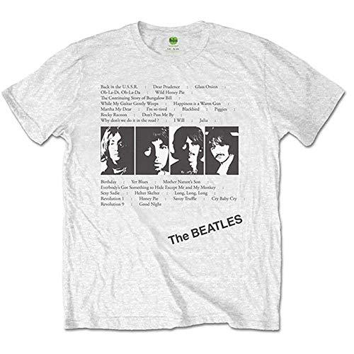 The Beatles Album Tracks (Back Print) T-Shirt, Bianco (White White), Large Uomo