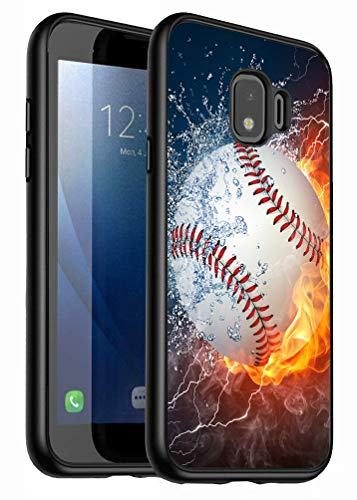 Galaxy J2 Core Case,J2 (2019) Case,J2 Dash Case,J2 Pure Case, LOWORO Premium TPU Slim Shockproof Rubber Protective Case Cover for Samsung Galaxy J2 Core, Burning Baseball Fire and Water
