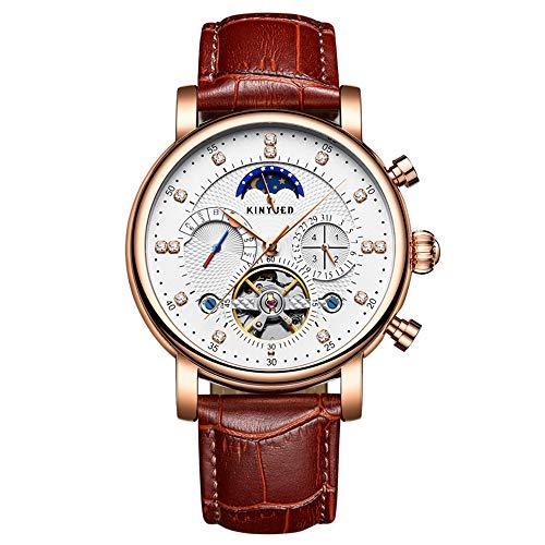 KINYUED Automatische Mechanische Uhr Echtes Leder Skelett Herren Business Armbanduhr Chrono/Mondphase/Woche/Kalender + Box
