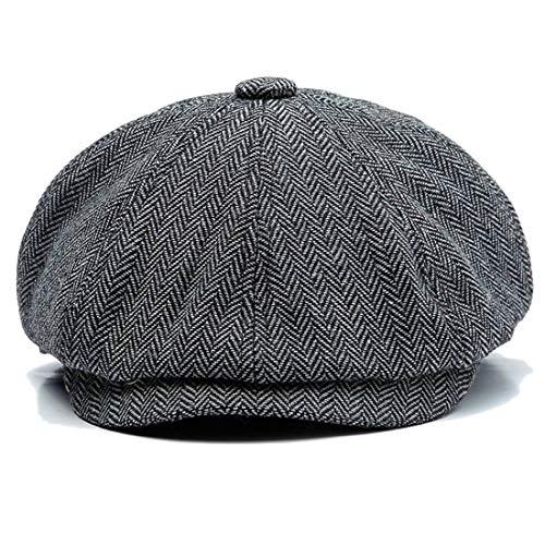 Charmylo Newsboy Cap Baker Boy Hat Gorras Planas - 8 Paneles Peaky Herringbone Tweed Gatsby Hat Ivy Irish Cap para Hombres y Mujeres, Gris, 59-61