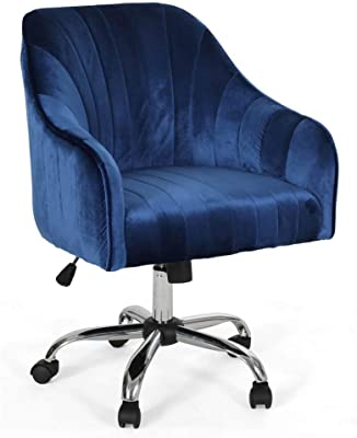 Noble House Glam Velvet Home Office Chair in Navy Blue and Silver Finish