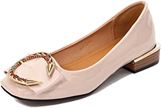 Women's Square-Toe Flats, Large Size 2Cm High C Type Metal Buckle Colored Diamond Decoration Closed-Toe Single Shoes Casual Suitable for Everyday Wear