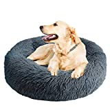 Calming Dog Bed Cat Bed,Washable Round Dog Bed - 23/30 inches Anti-Slip Faux Fur Donut Cuddler Cat Bed for Small Medium Large Dogs - Fits up to 25/45 lbs - Waterproof Bottom