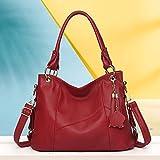 RSRA Bolsos de mano para mujer Diseñador grande Hobo bag Bucket Purse PU-Rojo