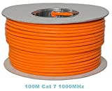 Bobina de cable de red Ethernet - TDA – Cat. 7, sin halógenos, 1000 MHz, de cobre, 100 m, color naranja