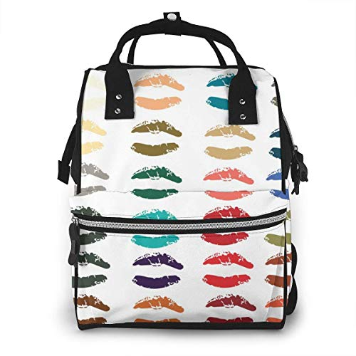 UUwant Sac à Dos à Couches pour Maman Collection of Lipsticks Print Mouth in 24 Colors Set Illustrations Diaper Bags Large Capacity Diaper Backpack Travel Nappy Bags Mummy Backpackling