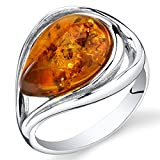 Peora Genuine Baltic Amber Teardrop Statement Ring for Women in Sterling Silver, Rich Cognac Color, Open Halo Swirl Design, Comfort Fit, Size 8