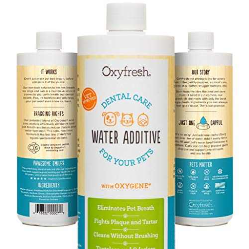 Oxyfresh Premium Pet Dental Care Water Additive: Best Way to Eliminate Bad Dog Breath & cat Breath - Fights Tartar & Plaque - So Easy, just add to Water! Vet Recommended!