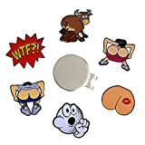 Andoji Funny Golf Ball Marker 6 Pack with Magnetic Hat Clip