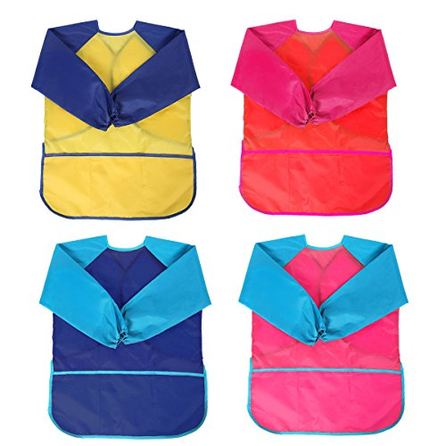 4 Pack Kids Art Smocks, BATTOP Children Waterproof Play Artist Painting Aprons...
