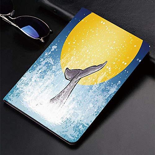 Funda para iPad (9,7 pulgadas, modelo 2018/2017, 6.a / 5.a generación) Funda inteligente ultradelgada y liviana, ballena, cola de ballena en el océano en luna llena Buceo en el agua Swimmer Marine Ani